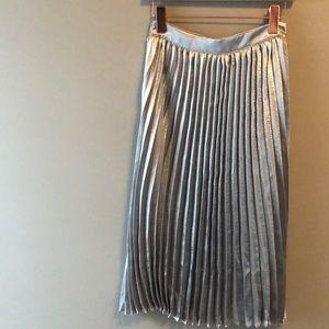 Metallic Silver Pleated Midi Skirt